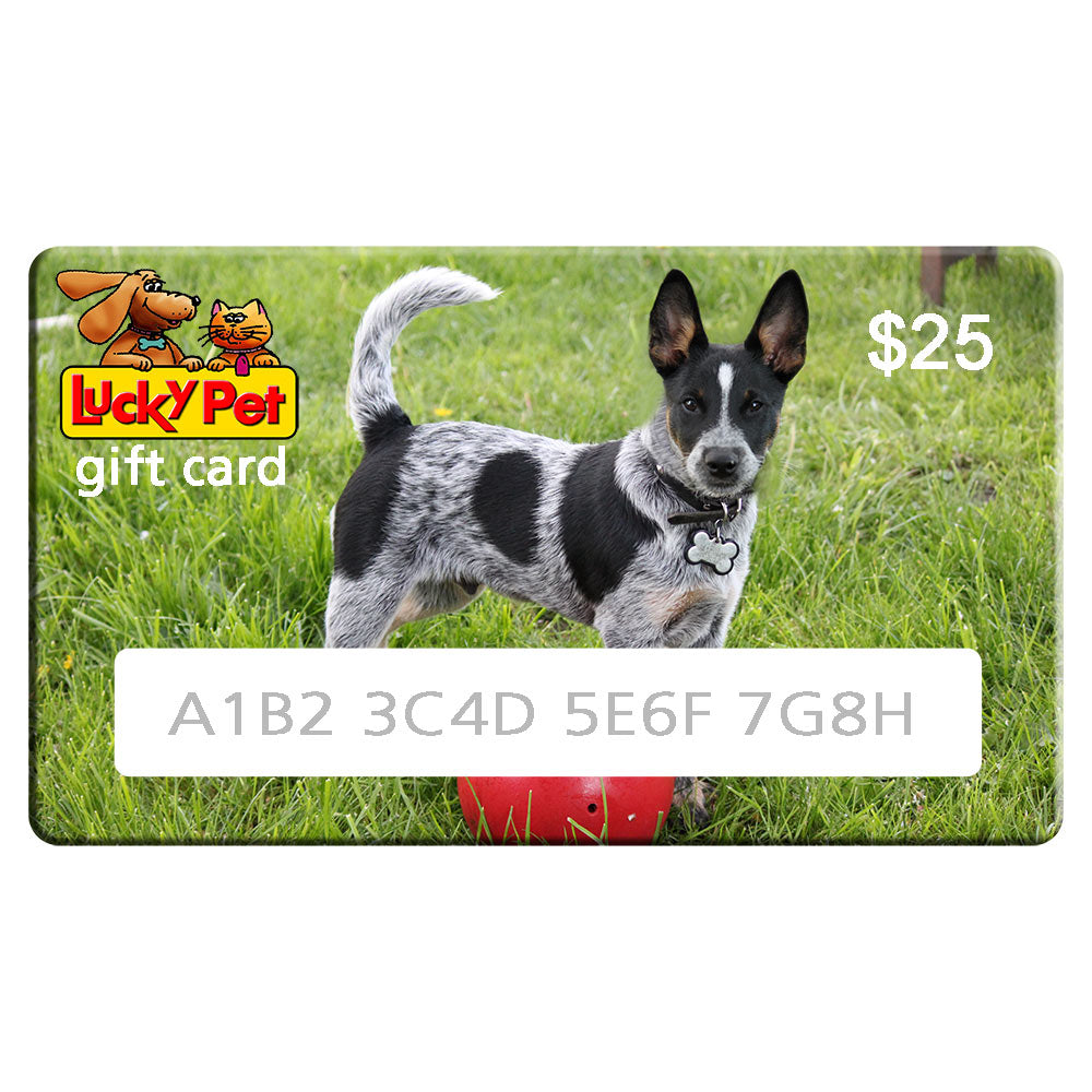 Sample of LuckyPet Gift Card featuring cute dog picture
