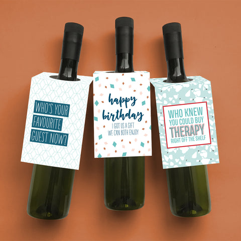 Sweet + slightly snarky wine and spirit tags for those with a sarcastic sense of humour