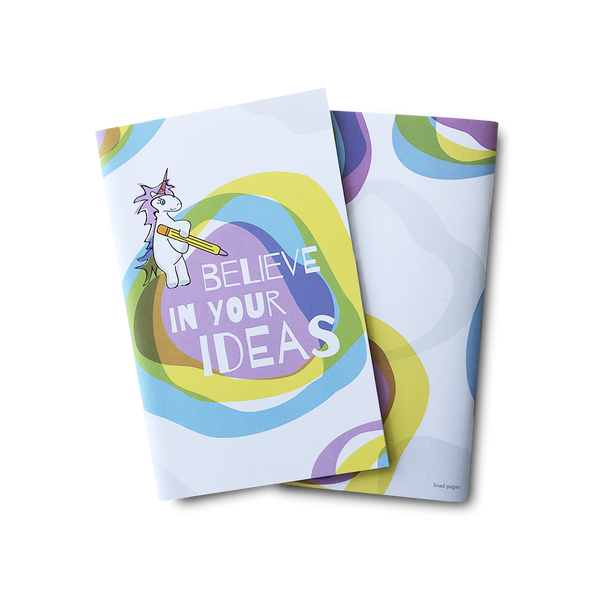 Believe in your ideas unicorn large notebook
