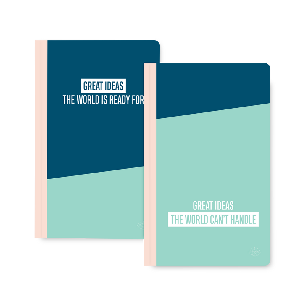 Great ideas the world can't handle, great ideas the world is ready for double-sided notebook