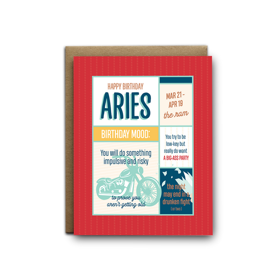 Aries birthday greeting card