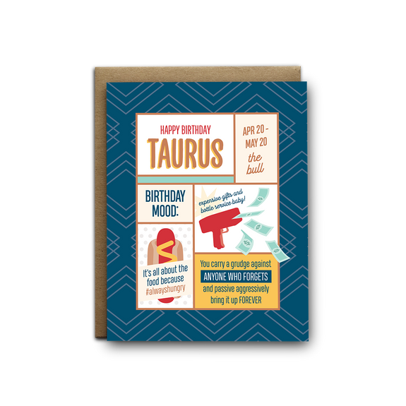 Taurus birthday greeting card