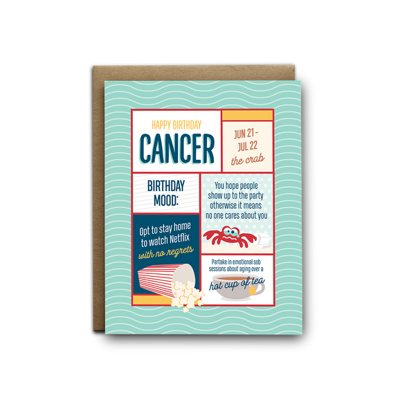 Cancer birthday greeting card