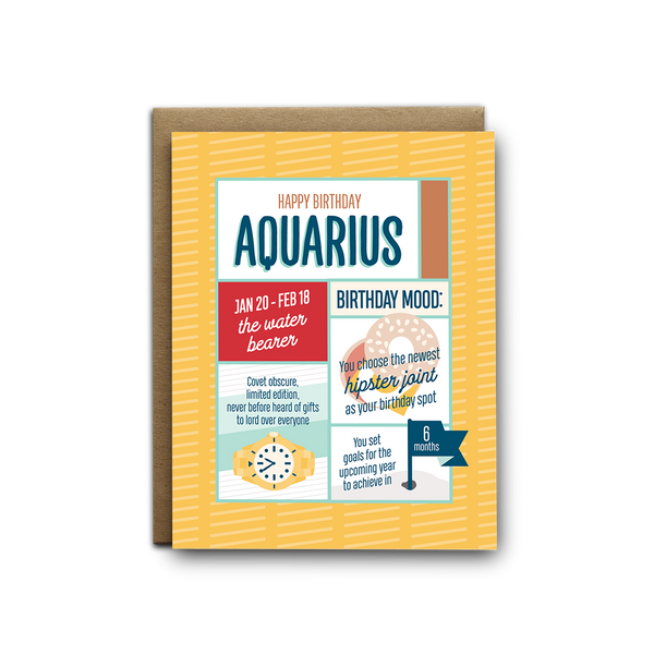 Aquarius birthday greeting card