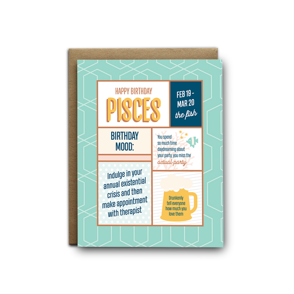 Pisces birthday greeting card