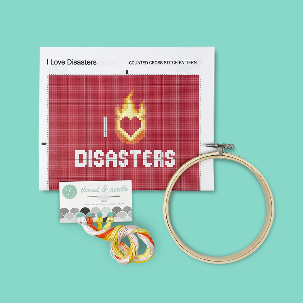 red i heart disasters diy cross stitching kit with pattern, hoop, thread and needle