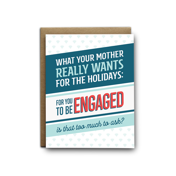 All your mother wants is for you to get engaged snarky Hanukkah greeting card