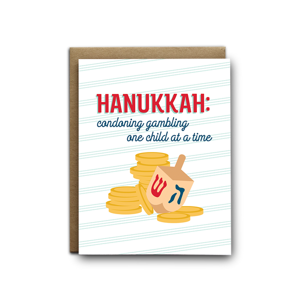 Condoning gambling for children snarky Hanukkah greeting card