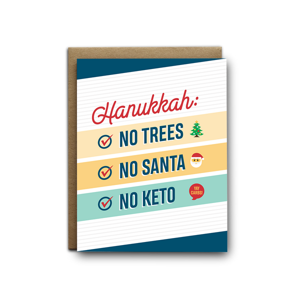 No trees, no Santa, no Keto snarky Hanukkah greeting card