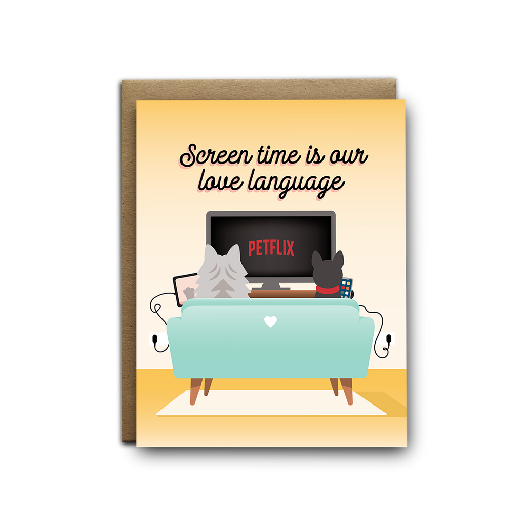 Screen time is our love language cats greeting card