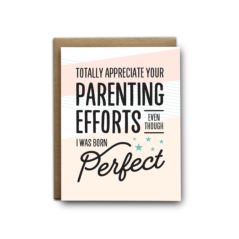 Born perfect Mother's and Father's Day greeting card