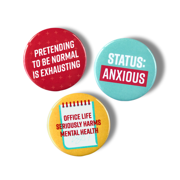 Pretending to be normal is exhausting, status: anxious, office life seriously harms mental health magnet set