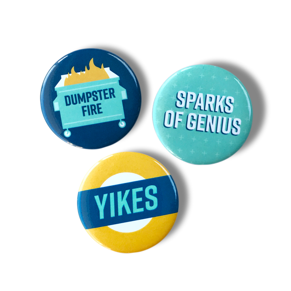Dumpster fire, sparks of genius, yikes magnet set
