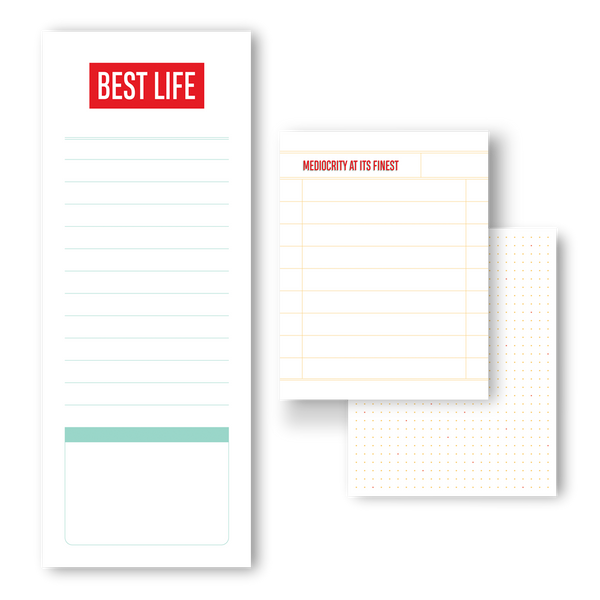 Best life, mediocrity at its finest notepad trio