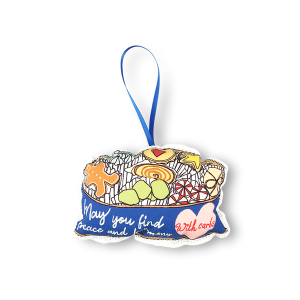 Peace and harmony with carbs cookie tin plush Christmas ornament