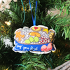 Peace and harmony with carbs cookie tin plush Christmas ornament on tree