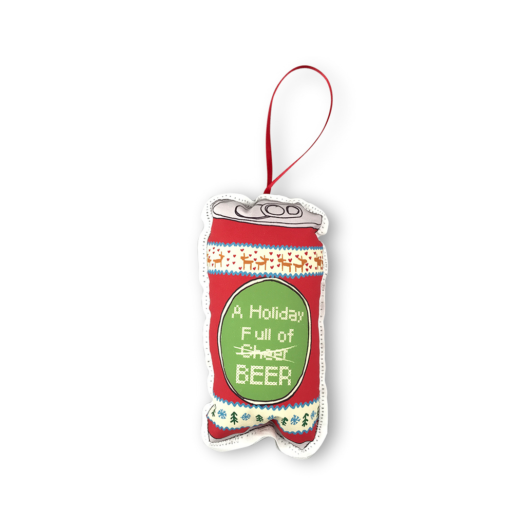 Holiday full of cheer beer can Christmas plush ornament