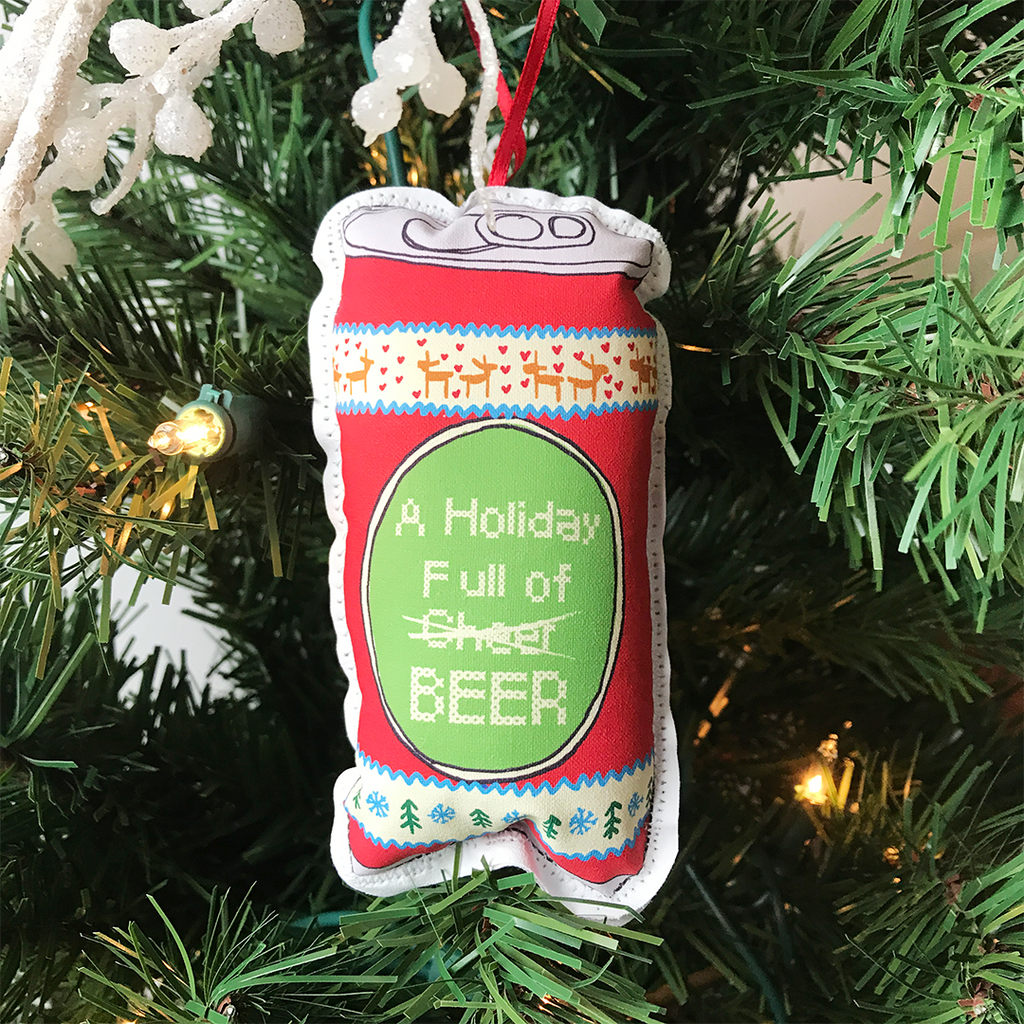 Holiday full of cheer beer can Christmas plush ornament on tree