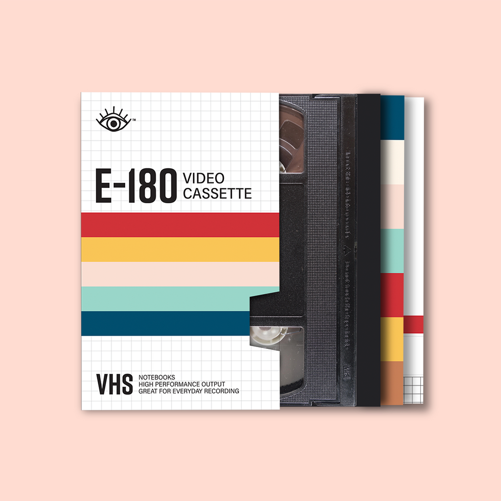 VHS notebook set with cover and three individual notebooks sliding out