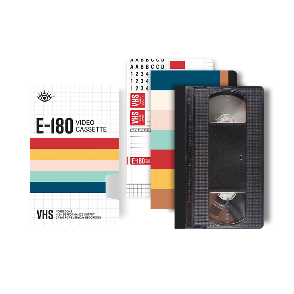 VHS notebook set with cover and three individual notebooks