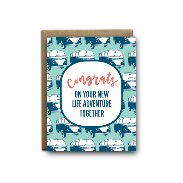 Congrats on your new life adventure together wedding greeting card