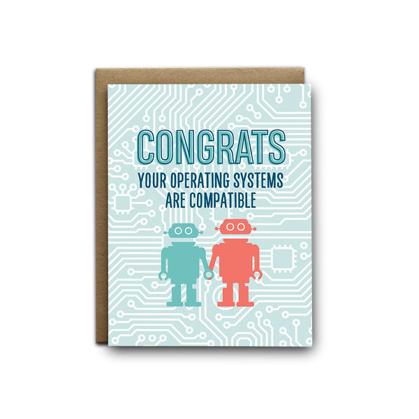 Congrats your operating systems are compatible wedding greeting card