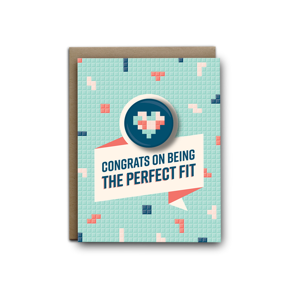 Tetris the perfect fit wedding magnet greeting card
