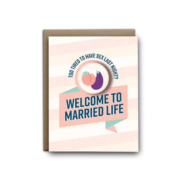 Too tired for sex welcome to married life wedding magnet greeting card