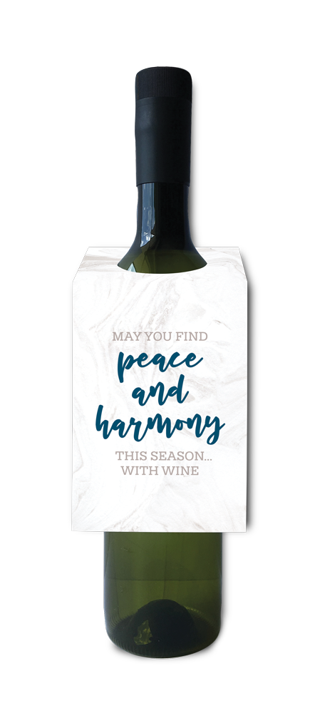 May you find peace and harmony with wine Christmas wine and spirit tag