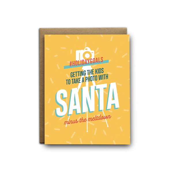 Photos with Santa Christmas greeting card