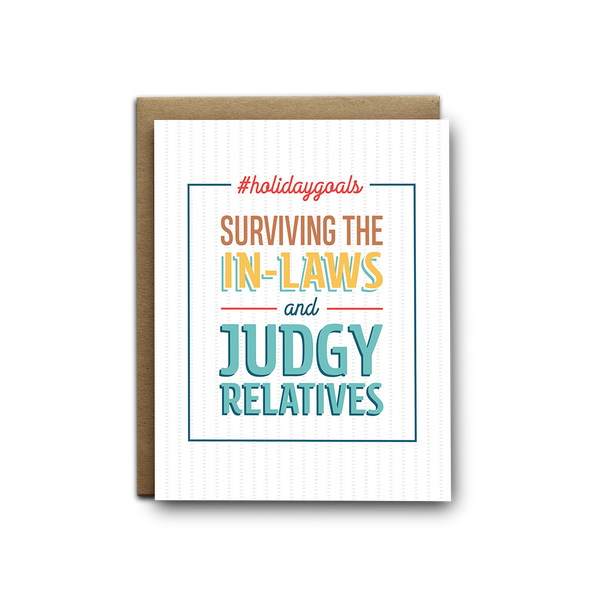 Surviving the in-laws and judgy relatives Christmas greeting card