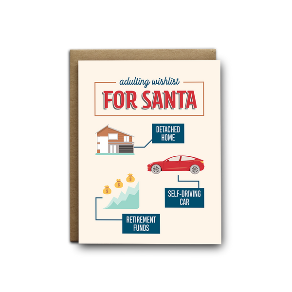 Adulting wishlist for Santa greeting card
