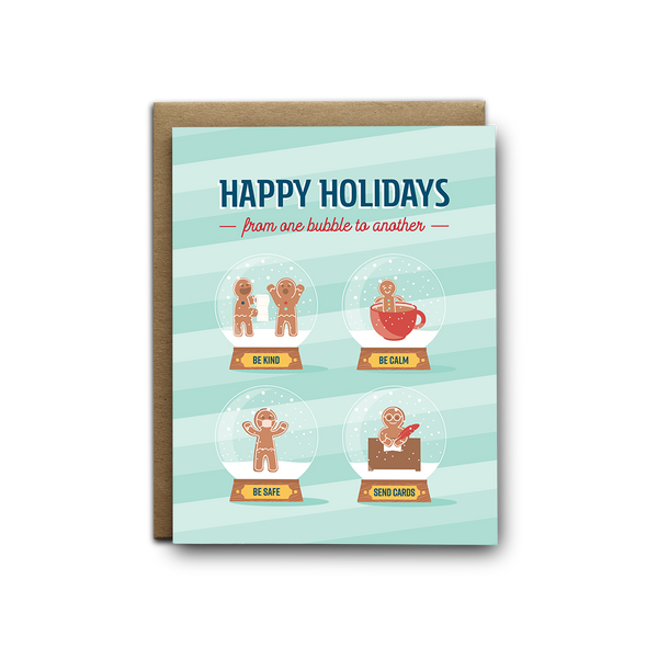 Happy holidays from one bubble to another COVID greeting card