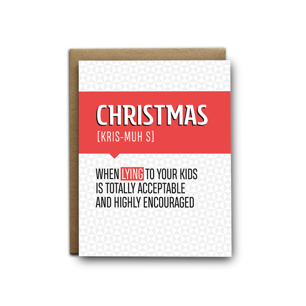 Lying to your kids Christmas greeting card