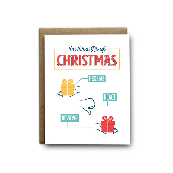 3 Rs of Christmas greeting card