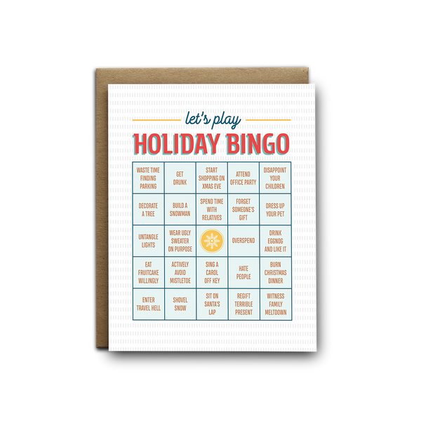 Holiday bingo Christmas greeting card