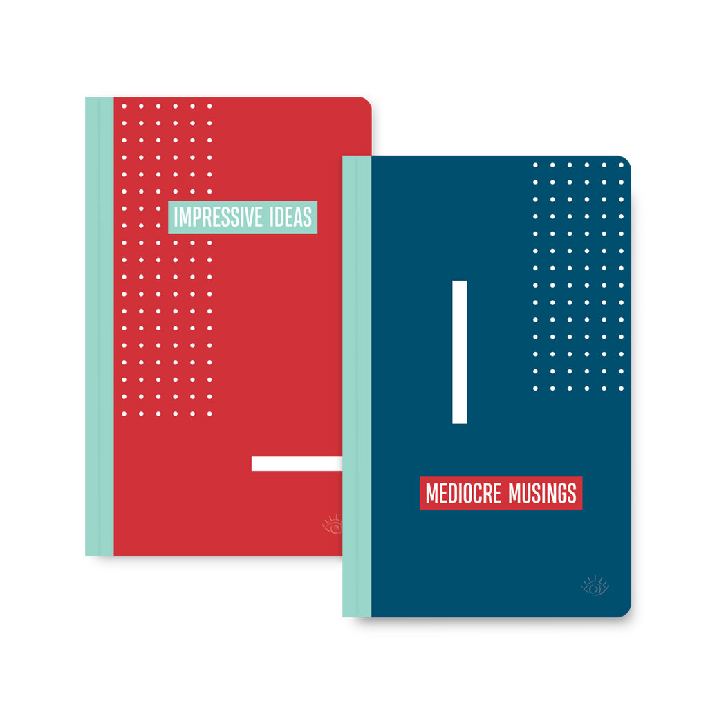 Impressive ideas, mediocre musings double-sided notebook