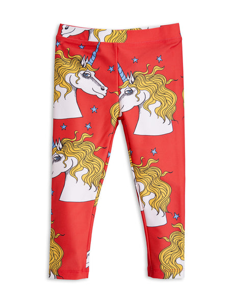 mini rodini - red unicorn star fancy leggings