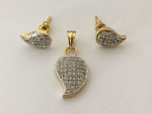 Shining Bee Fashion Jewelry Imitation Diamond Pendant & Earring Set P-25 - Shining Bee