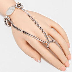 Shining Bee Trendy Raw Rock Accented Hand Chain, Silver, Clear