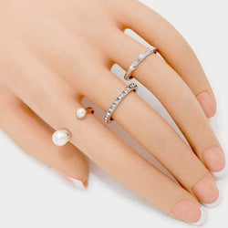 Shining Bee Trendy Tip Cuff Ring + 2 Rings Colour Pearl/Rhodium
