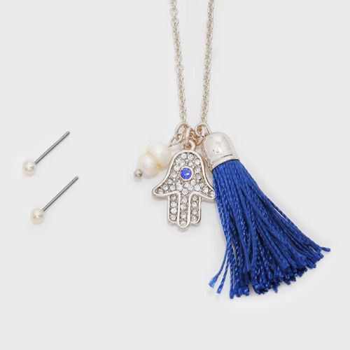 Crystal Pave Evil Eye Hamsa Hand & Tassel Necklace/Earrings Set - Shining Bee