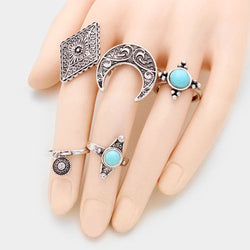 5 pce Turquoise & Tribal Metal Rings - Shining Bee