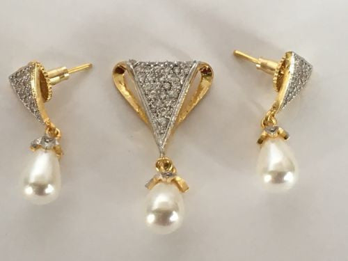 Shining Bee Fashion Jewelry Imitation Diamond/Pearl Pendant & Earring Set P-24 - Shining Bee