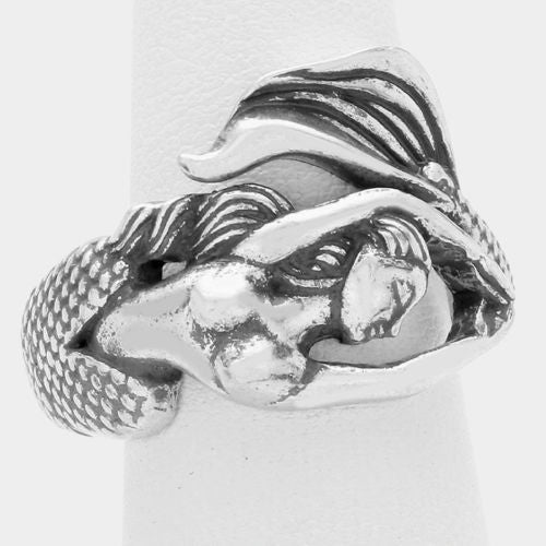 Metal Mermaid Wrap Ring - Silver