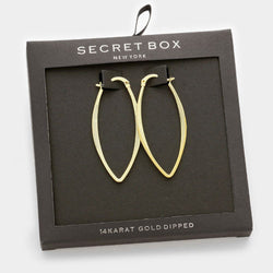 Hoop Pin Catch Earrings w Secret Box 14k gold dip - Shining Bee