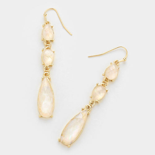 Mother of Pearl Link Earrings - Gold