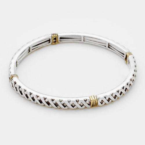 Embossed Metal Stretch Bracelet - Shining Bee