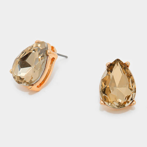 Glass Crystal Teardrop Stud Earrings - Light Topaz - Shining Bee