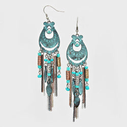 Boho Seed Bead Metal Fringe Drop Earrings Patina Verdigris - Shining Bee